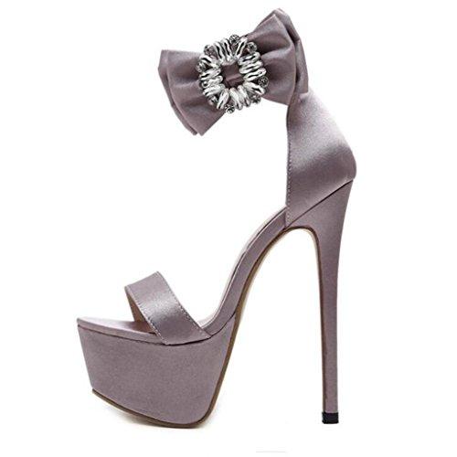 W&LM Signorina Tacchi alti sandali Grande fiore Cristallo Pulsante sandali Ok Bocca di pesce sandali Brown