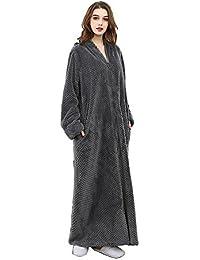 2a06b135bf Oksun Womens Plus Size Fleece Dressing Gown Soft Bathrobe Full Length with  Zipper