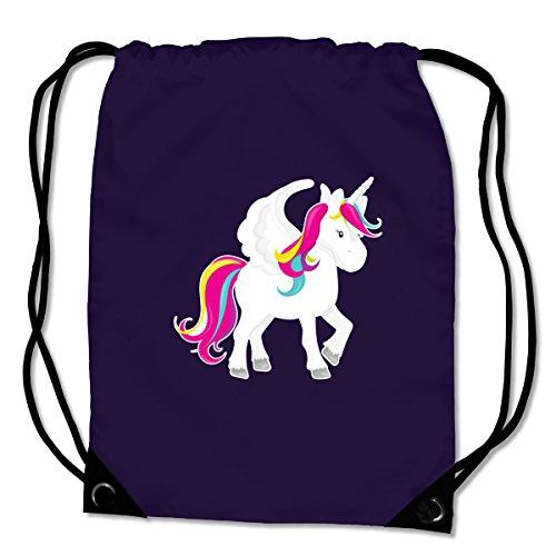 *Turnbeutel Einhorn Sportbeutel für Schule Sport Sporttasche Bag Base® BG10 Gymsac 45x34cm violett/farbiger Aufdruck*