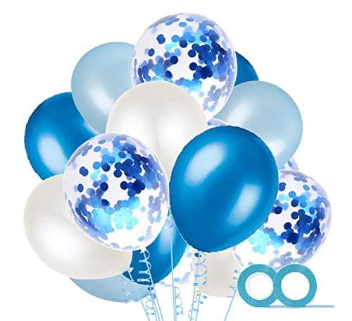 au und Weiß Luftballons mit Konfetti Ballons Blau und 2XLuftschlangen Helium Ballons für Hochzeit Geburstagsdeko Babyparty Junge Dekoration ()