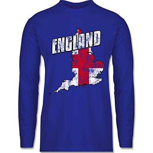 EM 2016 - Frankreich - England Umriss Vintage - Longsleeve / langärmeliges T-Shirt für Herren Royalblau