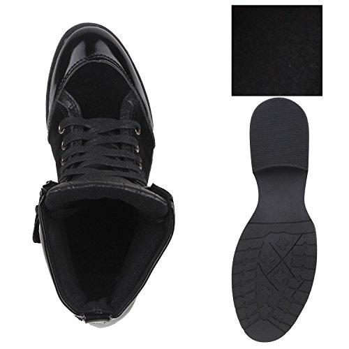 Damen Stiefeletten Lack Boots Schnürstiefeletten Schuhe Schwarz