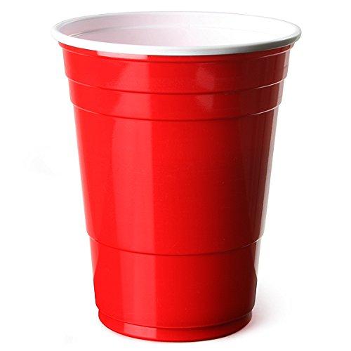 Trinkbecher Rot amerikanische Beer Pong PartyBecher 16 Unzen 455ml - 50er Pack - bar@drinkstuff SEHR STARK Rote Becher - Rubinrot, Apfelrot, Plastikbecher - Einwegbecher, Partyartikel, Partyzubehör