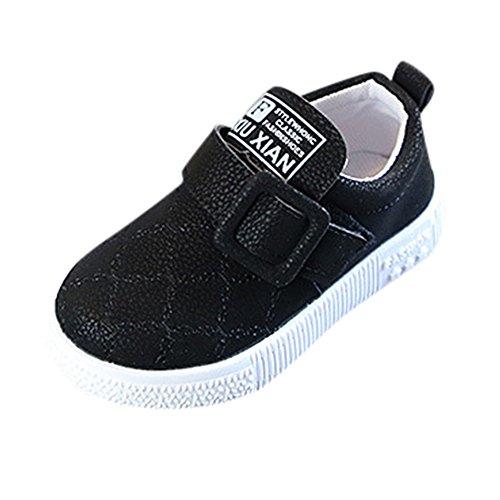 Fenverk Kinder Sneaker Kleinkind Baby Schlittschuh Jungs Weich Anti-Rutsch Sport Schuhe Winter Warm Halten Schnitt Sohle Turnschuhe Leder(Schwarz,26 EU)