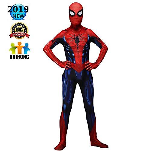 HUIHONG Iron Spiderman Cosplay Kostüm Spider Man Battle Kostüm Superheld Kostüm Erwachsene Kinder Weihnachten Halloween Bodysuit Overalls Zentai,Children-L