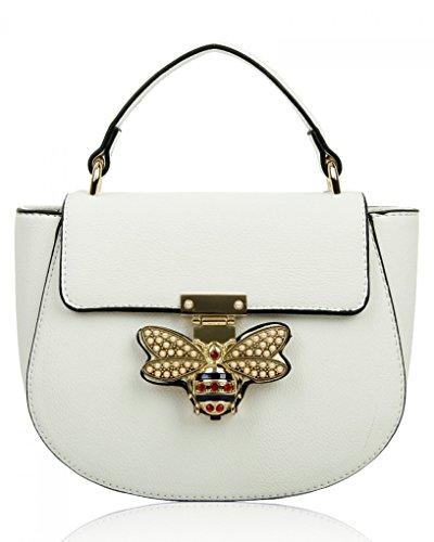 Chloe Handtasche Weiß (LeahWard Kleine Umhängetasche für Damen Designer Tote Grab Taschen Handtaschen für ihren Partyurlaub 0812 (Weisse Creme))