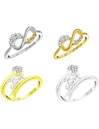 "Vidhi Jewels Gold & Silver Plated ""LOVE"" Finger Ring Set Alloy & Brass For Women & Girls [VCOMBO284RG]"