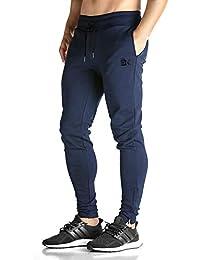 Broki - Pantalones de chándal ajustados con cremallera para hombre, pantalones deportivos informales para correr, ir al gimnasio, pantalones chinos de chándal, color negro