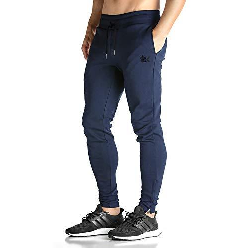 Broki - pantaloni da jogging da uomo, con cerniera, stile casual, per palestra, fitness, vestibilità aderente, colore: nero marina militare m