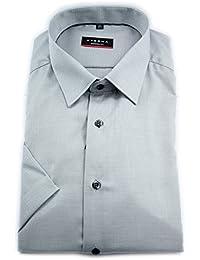 90bbb205a945d9 eterna Herren Kurzarm Hemd Modern Fit Modern-Kent-Kragen grau strukturiert  8145.35.C18P