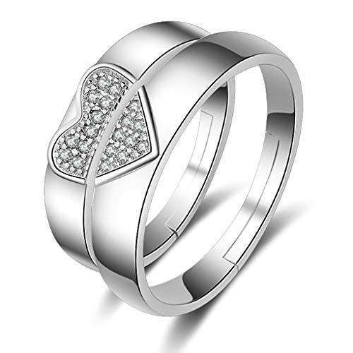 AiZnoY Ring Titan Stein Damen Ring Paar Edelstahl Puzzle Herz mit Zirkonia Silber Verstellbar Ring