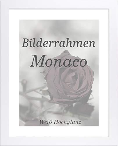 Homedeco-24 Monaco MDF Bilderrahmen ohne Rundungen 55 x 75 cm Größe wählbar 75 x 55 cm Weiß Hochglanz mit Acrylglas klar 1 mm