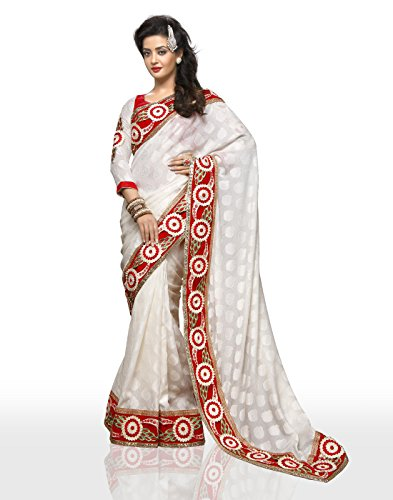 Chirag Sarees Synthetic Saree (4413_White)
