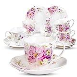 Juegos de Tazas de Café Cerámica Vintage - 80ML/2,8OZ Tazas de Espresso Diseño de Flores Exquisita Conjunto de 6 Tazas de Café y 6 Platillos Porcelana