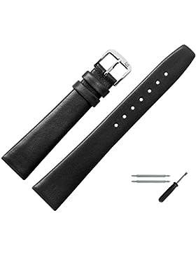 Uhrenarmband 10mm Leder schwarz glatt - Ersatzarmband inkl. Federstege & Werkzeug - Lederband mit trapezförmigem...
