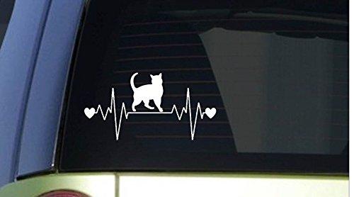 Herzschlag Katze hochwertige UV-beständige Aufkleber,Sticker, für Auto,Wand,Laptop,Fliesen,Bad,Badezimmer,WC, und alle glatten Flächen aus Hochleistungsfolie ohne Hintergrund,