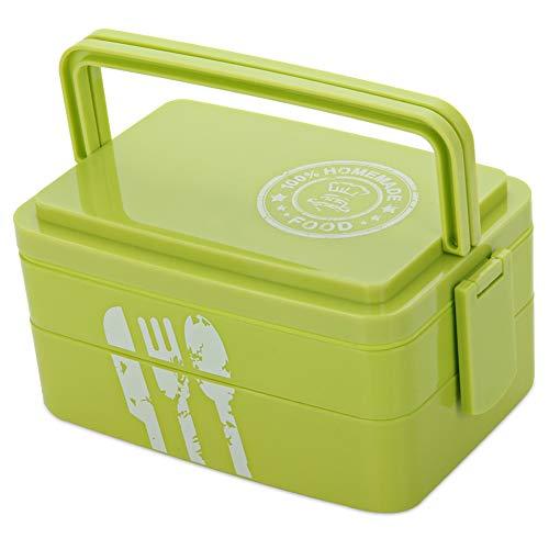 TLfyajJ 1900ml große Kapazität 3 Schichten Camping Bento Lunch Box Mikrowelle Lebensmittelbehälter, plastikfrei, BPA frei, auslaufsicher Grün (Planetbox-lunch-box)
