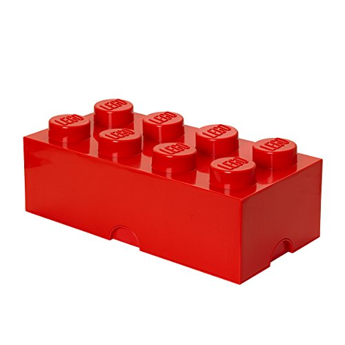 LEGO Storage Brick 8 Knobs, Stackable Storage Box, 12 l, Red