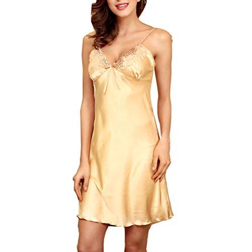 Zhhlinyuan Sexy Women's Silk Nightgown Deep-V Lingerie Satin Nightdress DQ113 Champagne