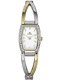 Clyda - CLG0082BBIW - Montre Femme - Quartz Analogique - Bracelet Acier Bicolore - Fond Argent - Pierres Synthétique
