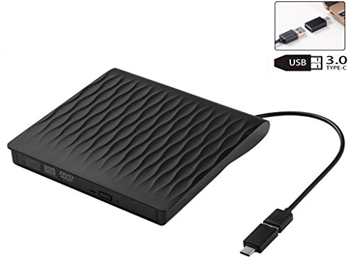 USB 3.0 Externes DVD Laufwerk, USB und Type C Schnittstelle, Tragbarer DVD/CD Brenner,USB CD Laufwerk extern, Kompatibel mit Laptop/Desktop/MacBook/iMac für Windows XP/7/8/10/Vista/Mac OS/Linux usw.