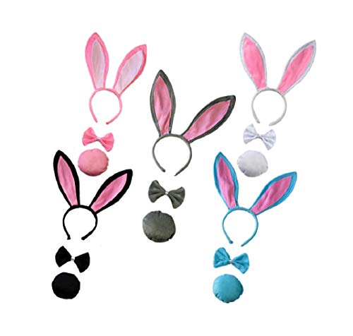 Bunny Rabbit Kostüm - 5sets Plüsch Hase Ohren Haarbänder Stirnband Hasenohren,Bunny Plüsch Haarreifen,Easter Halloween Adult Children Hairband Rabbit Ear,Mottoparty Karneval Kostüm Zubehör, Weiß Blau Schwarz Rose Grau