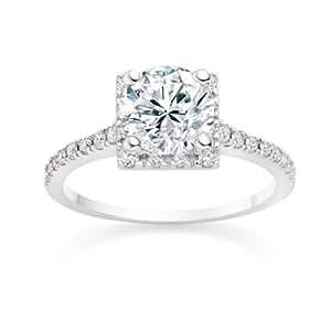 Diamond Manufacturers, Damen Verlobungsring mit 0.75 Karat G/VS1 feinem und zertifiziertem Runddiamant in Platin
