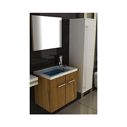 Badmöbel Set mit Waschbecken aus Mineralguss, Unterschrank und Spiegel mit Softclose-Funktion/Farbe: Walnuss / 50 cm Breite -