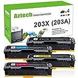 Aztech 4 Pack XXL Tóner Repuesto para HP 203X CF540X CF541X CF542X CF543X (HP 203A CF540A) Tóner para HP MFP M281fdw Tóner MFP M281fdn HP M280nw HP M254dw Toner HP Color Laserjet Pro M254nw Cartuchos de tóner HP Laserjet Pro M281fdw todo en uno Color Wireless