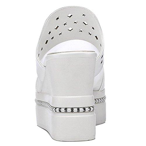 Modische Bequeme Sommer Damen Kühle Sandalen Dicke Sohle Keilabsatz Einfache Slip-on Offene Zehen Römische Stil Hohl Oberflach Ohneverschluss Weiß