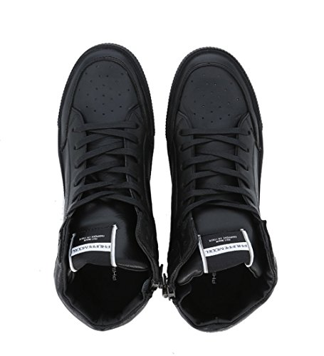 Philippe Model - Baskets En Cuir Noir Avec Zip Noir