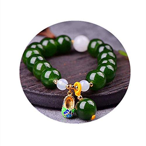 AMITD Großhandel JoursNeige Green Chalcedon Kristall Armbänder 12mm Perlen mit Cloisonne Schuhe Anhänger Armband Glück für Frauen Schmuck