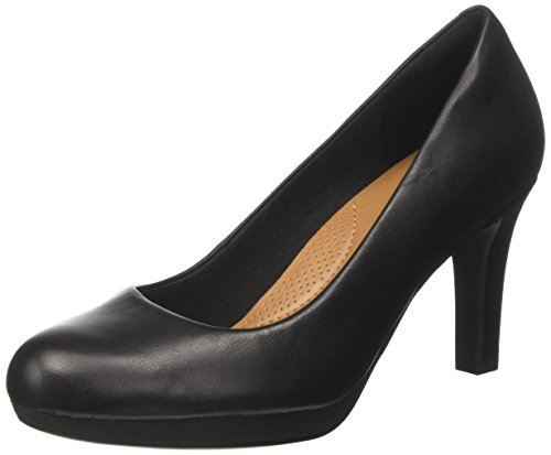 Clarks Damen Adriel Viola Pumps, Schwarz (Black Leather-), 37.5 EU