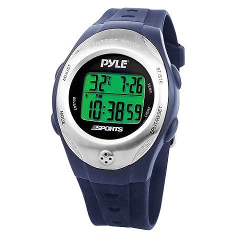 Pyle Montre avec thermomètre chronographe et compte à rebours Bleu