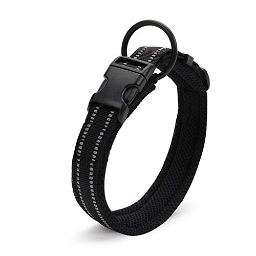 Einstellbare reflektierende Hundehalsband Nylon Haustier Kragen gepolstert atmungsaktive Anti-Choke Anti-Reiben Mesh mit Ring -