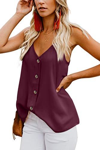 Ancapelion Damen Sommer Bluse Ärmellose Chiffon Tank Top V-Ausschnitt Shirt Elegant Weste Hemdbluse Loose fit T Shirt mit Trägern (Rot, S(EU 34-36))