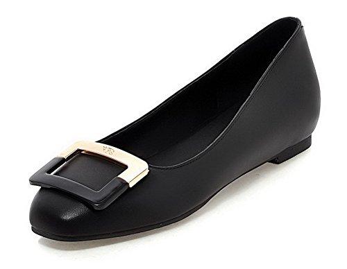 AgooLar Femme Tire à Talon Bas Matière Mélangee Couleur Unie Carré Chaussures Légeres Noir