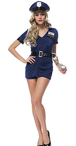 Aivtalk Damen Sexy Polizistin Uniform Jumpsuit Kostüm Set für Fantastisches Halloween Karneval Fasching Cosplay Maskerade Show Theater - (Halloween Polizist Kostüm Frau)