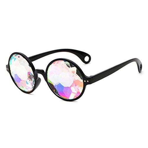 LUOEM Kaleidoskop Brille Regenbogen Gläser Sonnenbrille Party Festivals Dekoration (Schwarzer Rahmen mit Löchern)