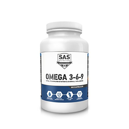 SAS Nutrition OMEGA 3-6-9 - 90 soft gels - Fish Oil to help with Concentration Hair and Nails Joint Health (90 Öl Gels)