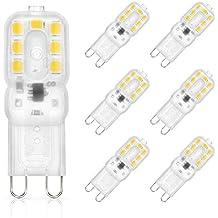 SHINE HAI bombillas LED G9 3W equivalentes a Lámparas halógenas de 25W,Blanco cálido 3000k,280LM,AC 220-240V,14x SMD 2835, Pack de 6