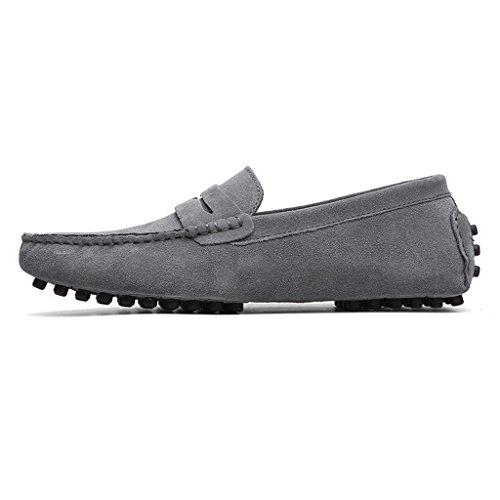 Eagsouni Herren Mokassin Bootsschuhe Wildleder Loafers Schuhe Flache Fahren Halbschuhe Slippers Grau
