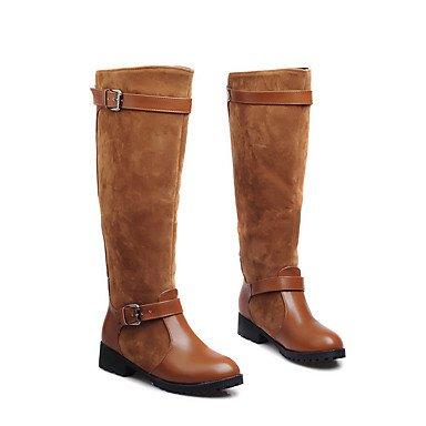 Wuyulunbi@ Scarpe Donna Inverno Ride Stivali Stivali Scarpe Piatte Ginocchio Alti Stivali Tempo Libero Outdoor Marrone Nero US8 / EU39 / UK6 / CN39