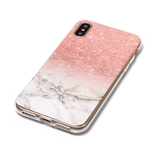 inShang iPhone X 5.8inch custodia cover del cellulare, Anti Slip, ultra sottile e leggero, custodia morbido realizzata in materiale del TPU, frosted shell , conveniente cell phone case per iPhone X 5. Rose gold white marble