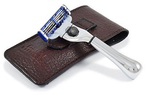 parker-safety-razor-gillette-mach3-viaggio-razor-custodia-in-pelle