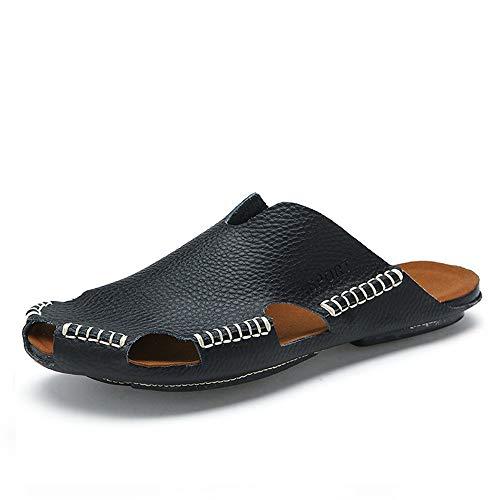 Apragaz Männer Schuhe Mit Zehenring Lässige Mode Sandalen Für Männer Lässig Komfortable Soft Solid Color Anti-Kollision Toe Beach Schuhe (Color : Schwarz, Größe : 44 EU)