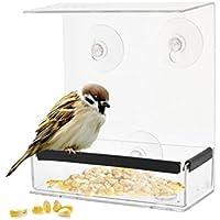 SUFUScuadrado alimentador de pájaros para Ventanas de Techo, Tipo de adsorción, alimentador en Forma de casa, diseño acrílico Transparente Resistente a la Intemperie, para una observación más cercana