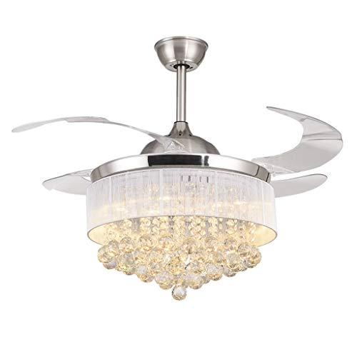 LOFAMI Innenbeleuchtung Europäische unsichtbare Deckenventilator Licht Crystal Fan Kronleuchter Wohnzimmer Esszimmer LED Moderne elektrische Ventilator Lampe Deckenventilatoren mit Beleuchtung -