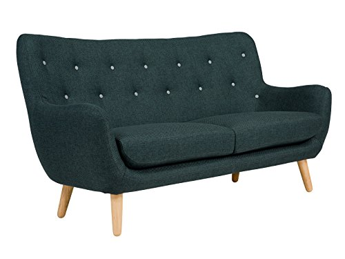 massivum Sofa Retro 180x95x80 cm Flachgewebe-Stoff Anthrazit