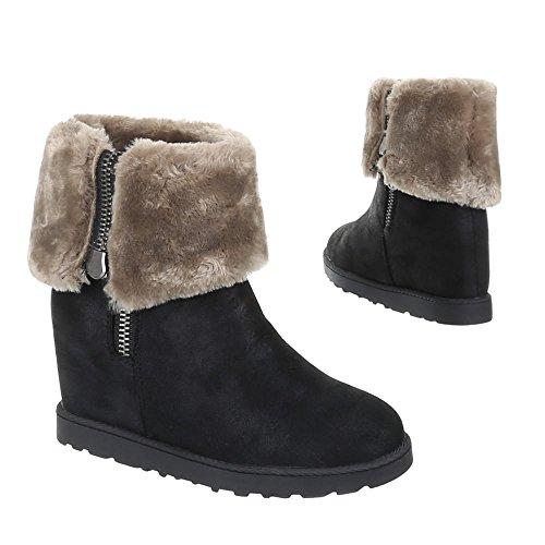 Damen Schuhe Stiefeletten Warm Gefütterte Boots Schwarz 39 d6FJrc